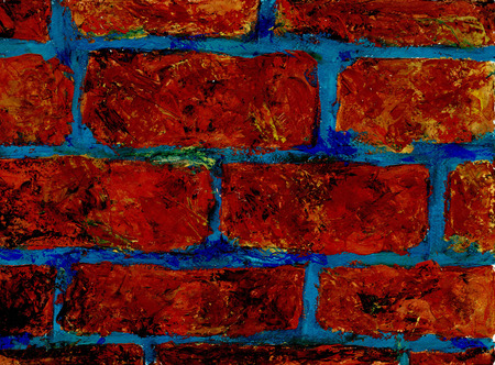 Brickwork texture. Fragment of a wall with a bricklaying with a blue cementing solution. Graphic work, stylization for childrens drawing. Gouache on paper. Palette knife