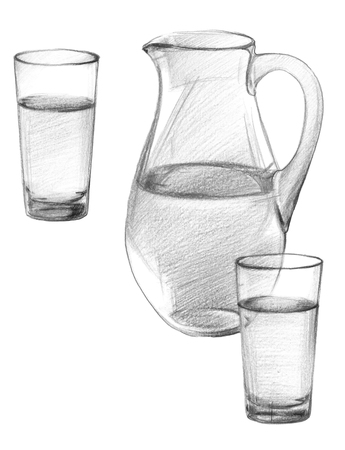 An image of a glass jug and two glasses of drinking water. Graphite pencil drawing, isolated on white background Stock Photo - 92618266