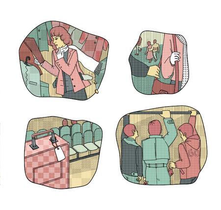 お金の盗難や損失を引き起こす状況。店の試着室で壊れた女性。群衆の中で盗難。無人のスーツケースを残した男は女性の肩からバッグを引き裂く 写真素材
