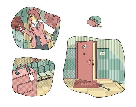 お金の盗難や損失を引き起こす状況。ドアに鍵が店の試着室で壊れた女性。 無人のスーツケースを残した ラスターイラスト。 写真素材