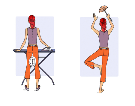 Fitness at home. A young woman performs a variety of exercises in the process of housekeeping - cleaning,  ironing back view. Raster illustration. Stock Photo