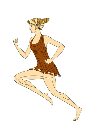 Running Caucasian woman in the Greek style red-figured pottery vector isolated on white background.