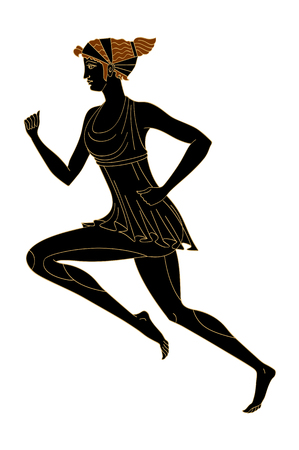 Running woman in the Greek style red-figured pottery vector isolated on white background.