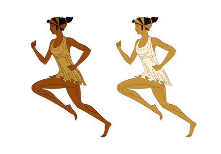 Running women in the Greek style red-figured pottery vector isolated on white background. Illustration