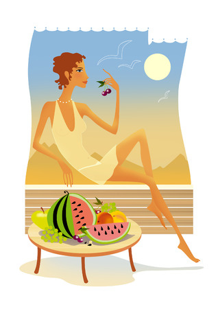 Young tanned woman eating fruits and berries reclining against the hot desert landscape Stock Photo - 95068956