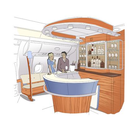 Mensen in de bar business-class vliegtuigen. Jonge vrouw en man praten aan een toog. Lineaire tekening van het barinterieur. Geïsoleerd op witte achtergrond