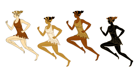 Four running women in Greek style. Marathon. Isolated on white background