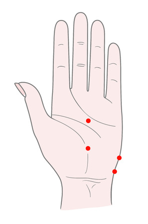 The inner side of the woman's left hand with dots for acupuncture massage. Vector. Isolated on white background