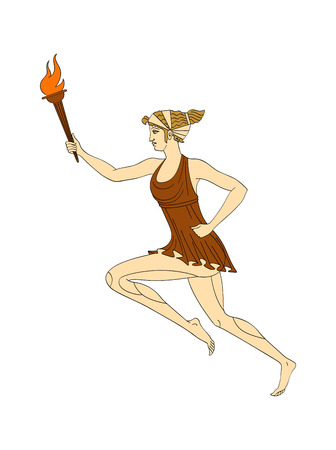 Running caucasian woman with a burning torch in her hand in a Greek style. Vector. Isolated on white background Stock Photo