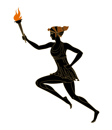 Running woman with a burning torch in her hand in the Greek style red-figured pottery. Vector. Isolated on white background