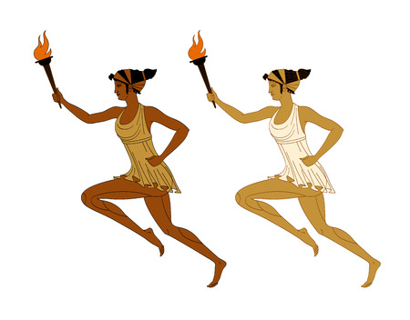 Two running women with a burning torch in their hands in Greek style. Marathon. Vector. Isolated on white background