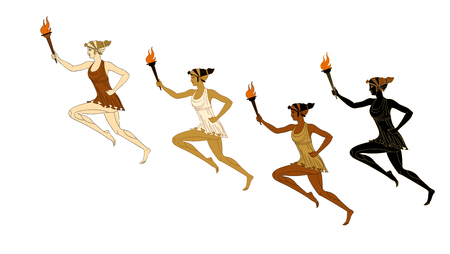 Four running women with a burning torch in their hands in Greek style. Marathon. Vector. Isolated on white background Stock Photo