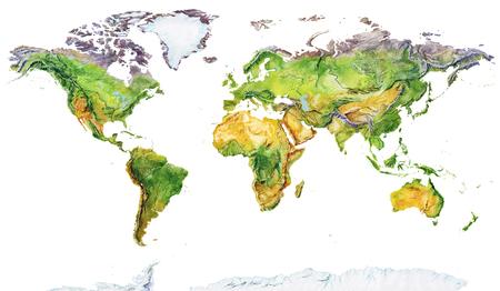 Carta geografica dell'acquerello del mondo. Mappa fisica del mondo. Immagine realistica. Isolato su sfondo bianco