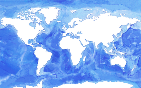 Watercolor realistic Map of the seas and oceans with  blue water and white land continents.