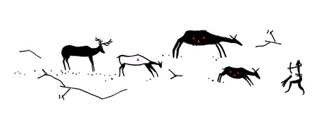 Primitive hunting. Stylization. The silhouette of a man in an animal mask shoots a bow in four ungulate animals. Isolated on white background.
