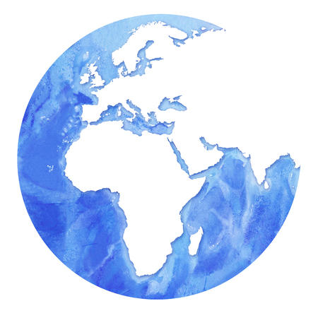 Watercolor Realistic Map Of The Seas And Oceans With Blue Water ...