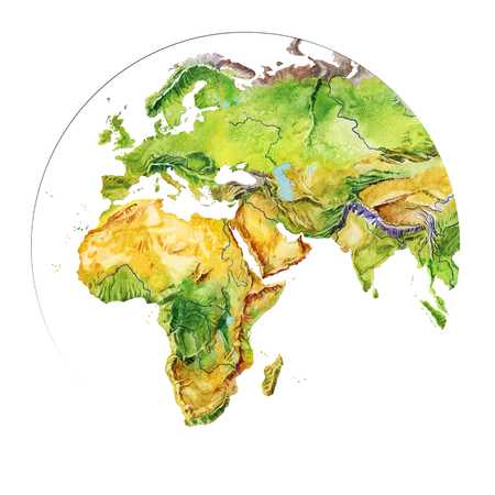 Watercolor geographical map of the world. Physical map of the world. Fragment. Europe, Asia,  Indonesia, Africa. Realistic image. Isolated on white background