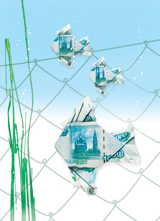 Floating in the water origami fish made from banknotes of the Bank of Russia denomination of 1000 rubles against the background of the cells of the fishing net and algae. 3d illustration, isolated on white background Banque d'images - 101687488