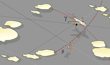 Air battle. Three aircraft in flight, in a peak and in a bend among the clouds and lines of the route. Rise and fall. Against the background of the grey sky. Banco de Imagens