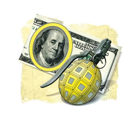 Grenade weapons pineapple F1 on the background of a note 100 US dollars, forming a symbolic sign Banco de Imagens