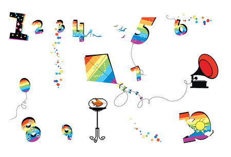Numerology. Feast and joy. Funny multicolored figures, a kite, a balloon, an aquarium on the table, a gramophone. Isolated on white background Stock Photo
