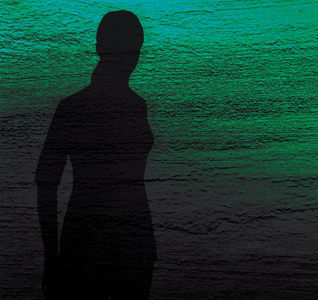 Silhouette of a lonely girl on a blue and green textured background. Sadness, longing, depression.