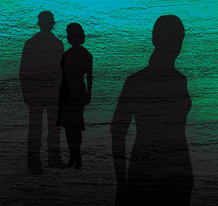 Silhouette of a girl and a man and a woman on a blue and green textured background. Contrast. Family conflict. Treason Stock Photo
