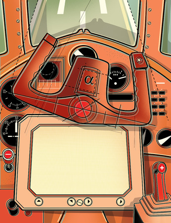 The steering cabin and the helm of the plane. View from the cockpit of the pilot. Digital illustration.