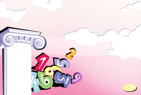 Numerology. Fortunetelling. Pink background with a bunch of numbers and a Corinthian column. A deserted pink landscape with clouds.