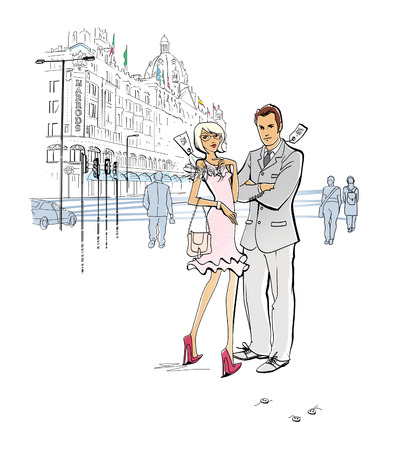 Shopping in London. Week of sales. Discounted clothing. A man and a woman in clothes with markdown tags stand near the department store. Torn off buttons. Defective things