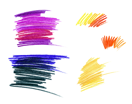 Drawing with colored pencils. Different color dynamic linear shading. Isolated on white background.