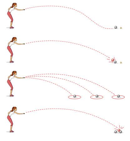 Jugando a la petanca. Chica lanzando pelotas. Los principales tipos de movimiento. Aislado sobre fondo blanco
