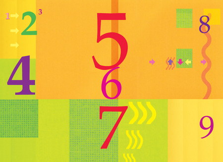 Numerology. Figures. Abstract background, orange green. Summer and autumn. Arrows and waves. Digital illustration. Stock Photo