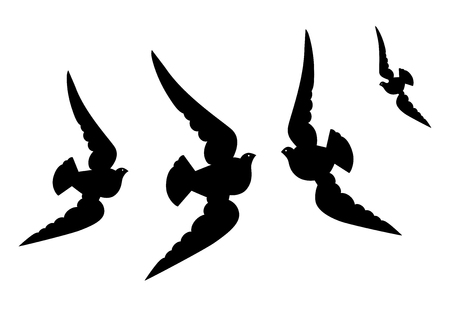 Four flying pigeons with wide wings. Vector illustration