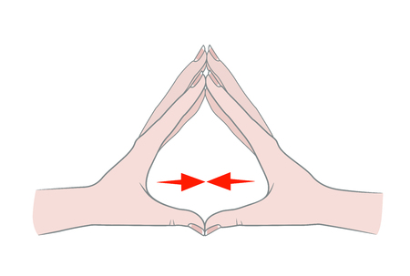 Exercises for the hands against inflammation of the joints and arthritis. Two female hands connected by fingers. Vector illustration