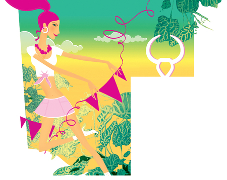 Zodiac sports lady. Taurus. A girl in a carnival costume with a garland of flags against a background of tropical thickets.