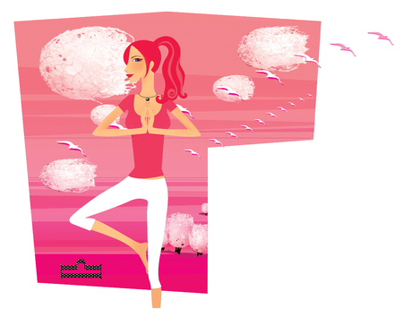 Zodiac sports lady. Libra. A girl in a stork pose against a background of pink desert and flying birds. In the form of a  shield.