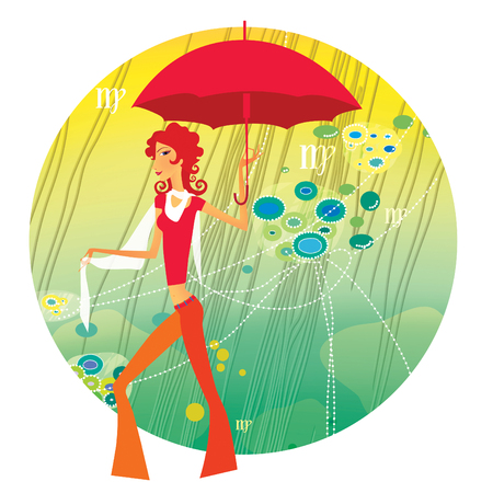 Zodiac sports lady. Virgo. Girl with a red umbrella in a tropical thicket of lianas. On a round background