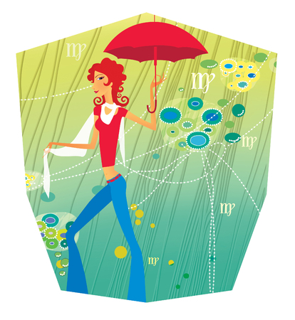 Zodiac sports lady. Virgo. Girl with a red umbrella in a tropical thicket of lianas.  In the form of a heraldic shield Stock Photo