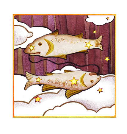 Astrological sign of the zodiac Pisces, isolated on a white background. Two fish swimming one after another. Isolated on a dark  pattern background
