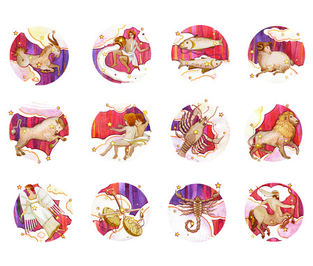 Set of twelve signs of the zodiac, watercolor in retro style. Isolated on a colored  pattern background Stock Photo