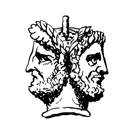 Two-faced Janus. Two male heads in profile, connected by the nape. Stylization of the ancient Roman style. Graphical design. Illustration.