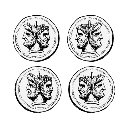 Two-faced Janus. Two male heads in profile, connected by the nape. Stylization of the ancient Roman coin. Graphical design. Illustration.