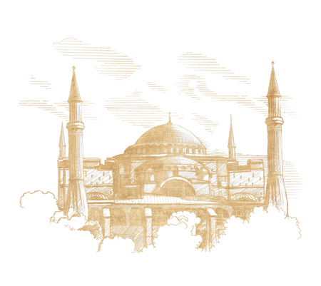 �and draw sketch Hagia Sophia (Ayasofya) in Istanbul. Turkey. Graphic linear tonal drawing by slate pencil. Sepia, toned paper. Isolated on white background Foto de archivo