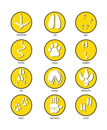 Chinese zodiac signs icons set on yellow round background.   Paw prints marks , footprints of rat, mouse, snake, dragon, pig, rooster, rabbit, horse, monkey, dog, tiger, ox, bull. Vector illustration Illustration