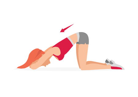 Young girl is training. Exercises to strengthen the muscles of the and pelvic floor muscles. Kegel exercises. Vector illustration isolated on white background.