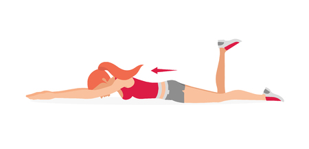 La ragazza si sta allenando. Esercizi per rafforzare i muscoli del pavimento pelvico e. Esercizi di Kegel. Illustrazione vettoriale isolato su sfondo bianco. Vettoriali