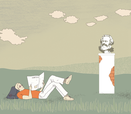 German socialism. An unemployed young man lying on the grass reading a newspaper. Backpack under his head. Bust of Karl Marx on the background of a summer green field under the clouds.