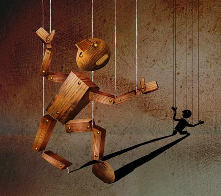 Gebroken houten marionet tegen de achtergrond van gipsmuur