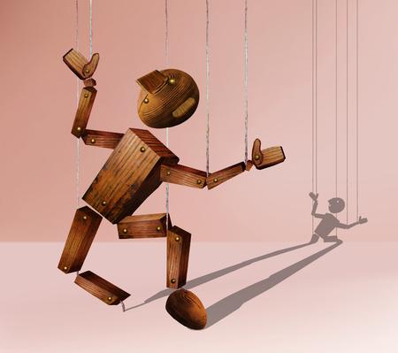 Broken wooden marionette against the pink background
